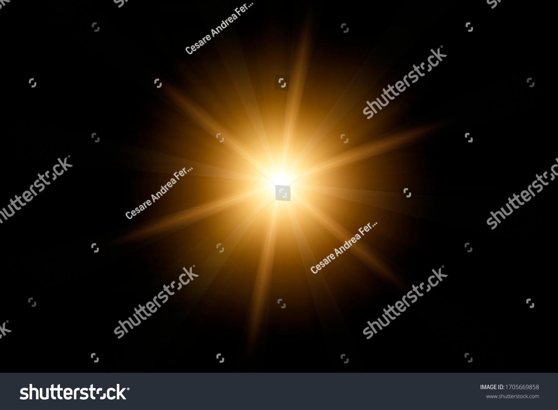 Optical lens flare on black background. #1705669858