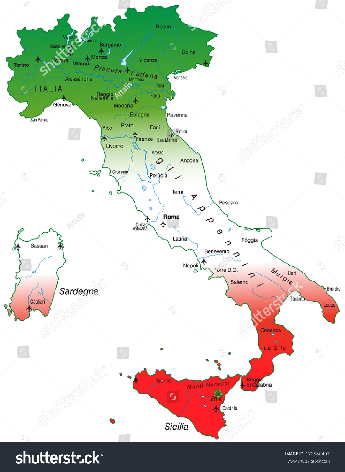 Map Italy Overview Map Stock Illustration 170580497 Shutterstock