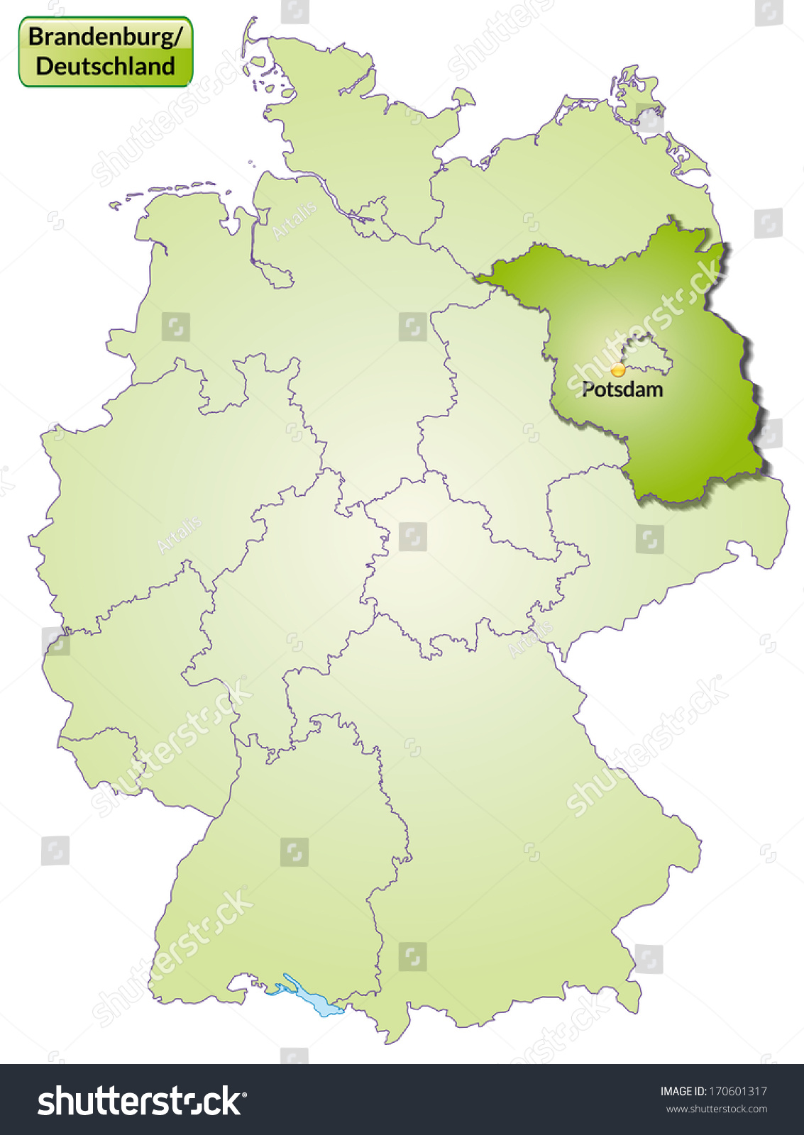 Map Brandenburg Main Cities Green Stock Illustration 170601317