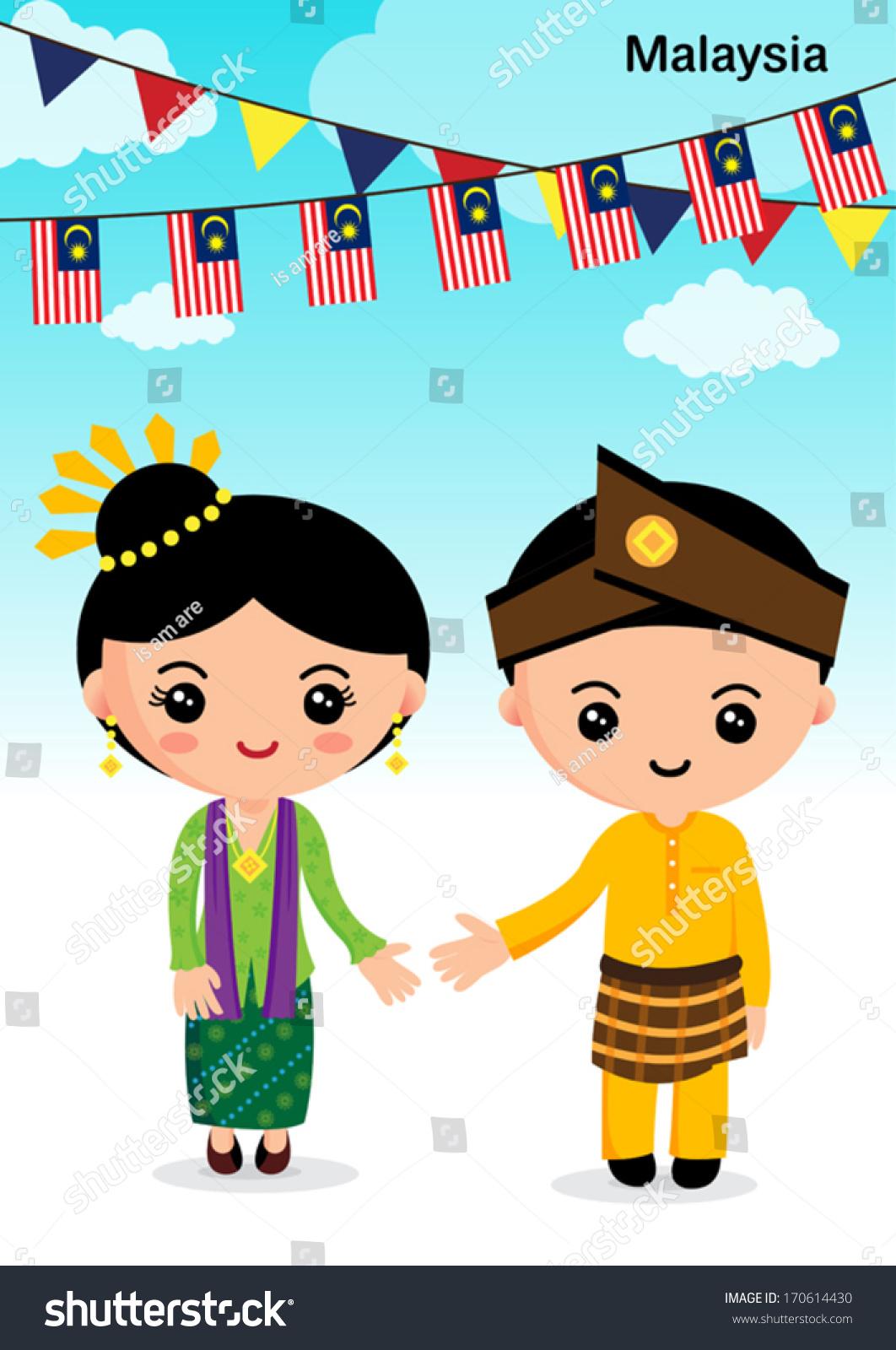 Malaysian People Clipart Malaysia Traditional C...