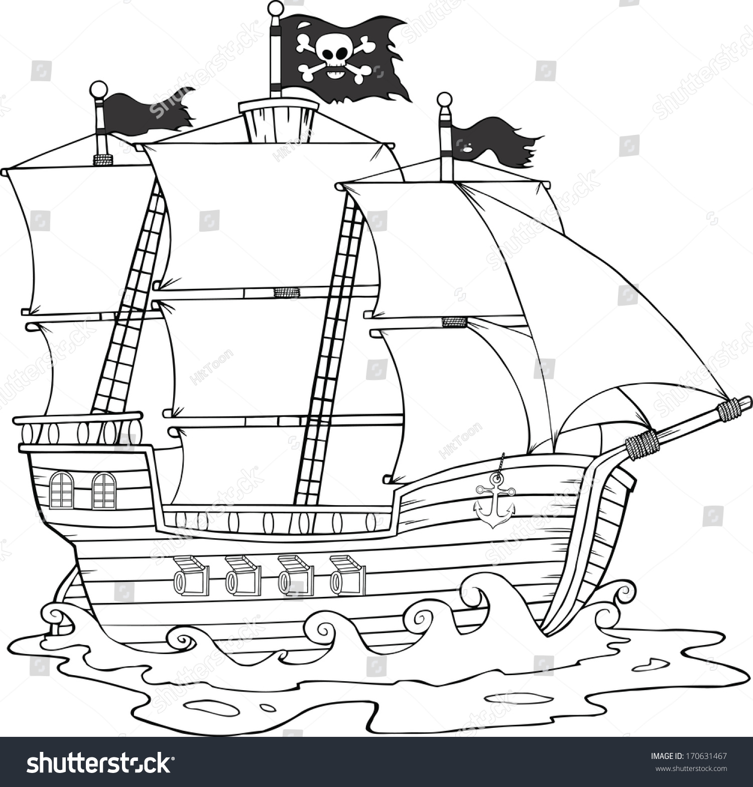 black white pirate ship sailing under stock illustration 170631467