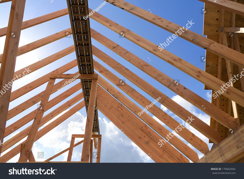 Horizontal shot of post and beam roof… Stock Photo 170662664