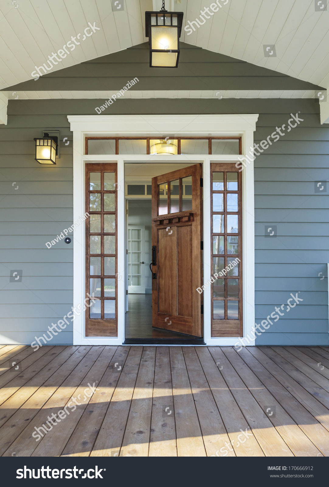 Vertical Shot Wooden Front Door Upscale Stock Photo 170666912 Shutterstock