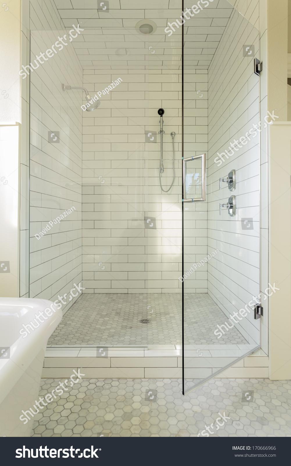 Vertical Shot White Tile Master Bathroom Stock Photo (Royalty Free ...
