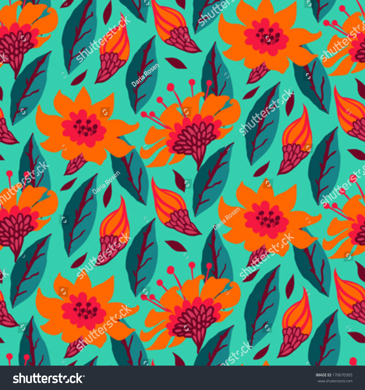 Vector Seamless Floral Pattern With Daisy Flowers On