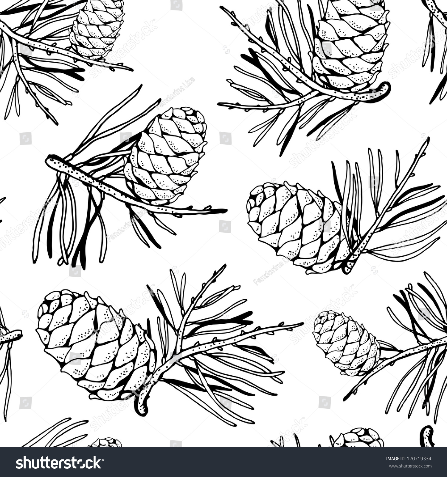 Seamless Pattern Pine Cones Pine Branches Stock Vector 170719334 ...