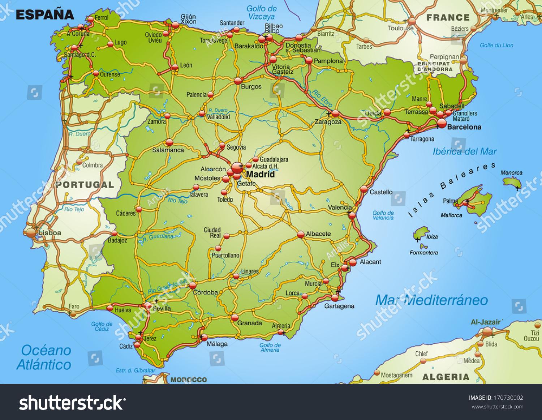 Map Spain Highways Stock Illustration Shutterstock - Barakaldo map