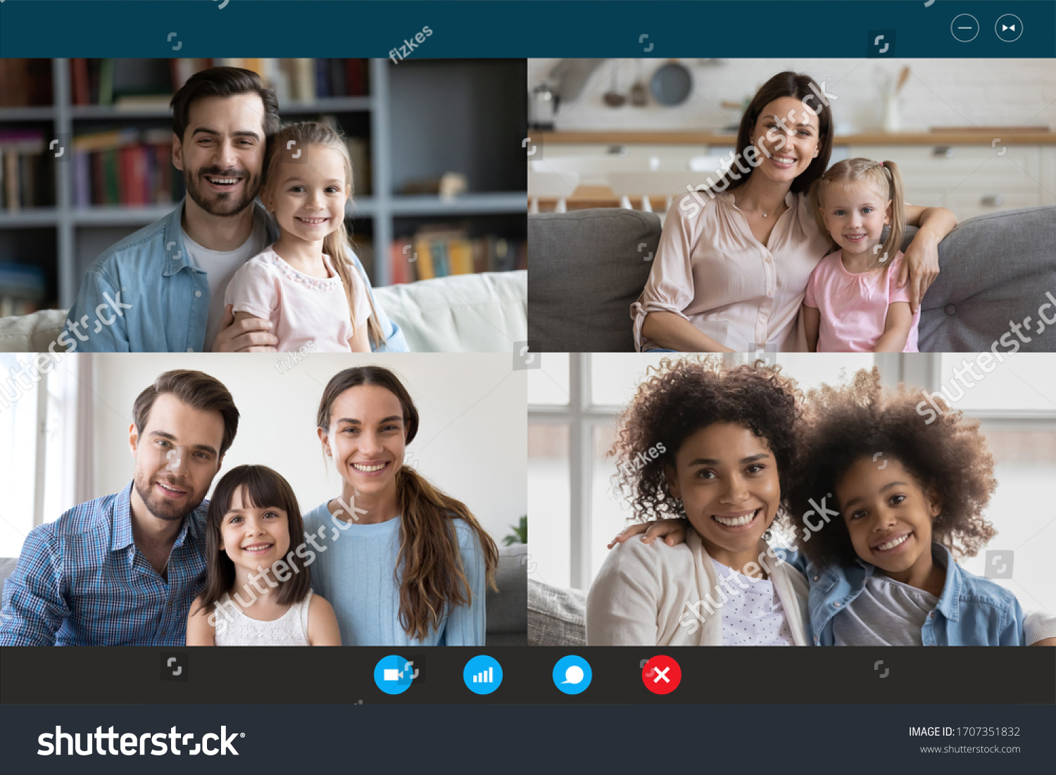 Modern technology, visual virtual on-line meeting using pc internet connection and webcam concept. Diverse families involved in video conference, laptop screen webcamera view, easy and convenient app #1707351832