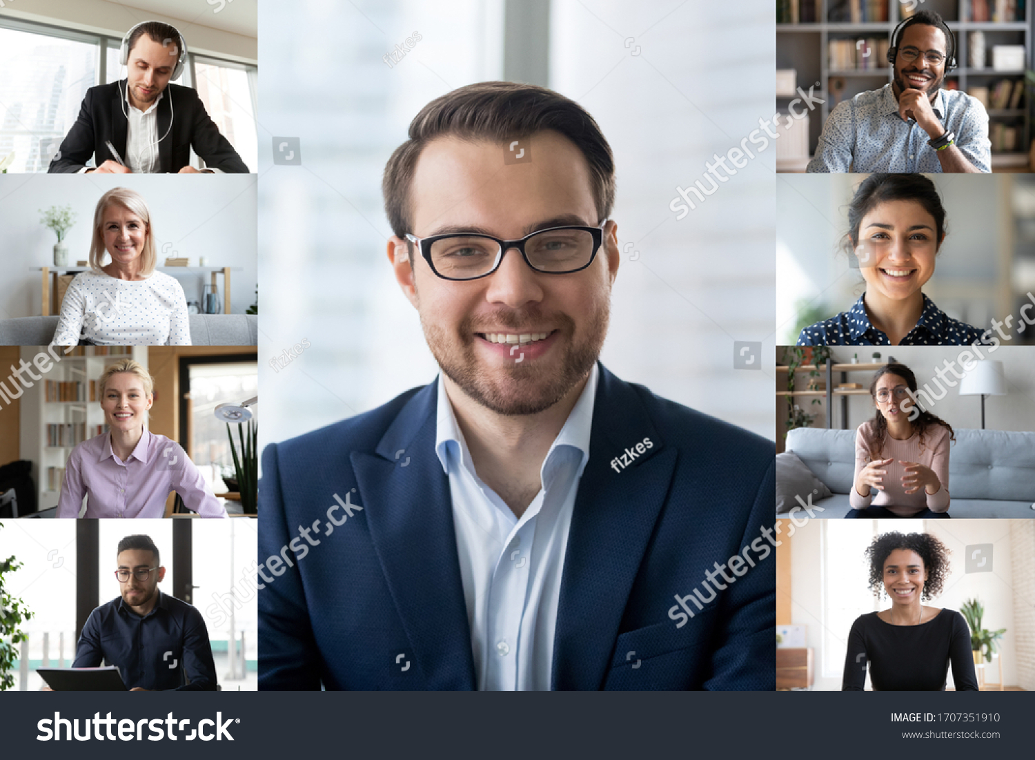 Full frame image computer screen webcamera view lot of multi racial businesspeople involved in group video call. Modern app technologies usage, distant communication, on-line meeting activity concept #1707351910