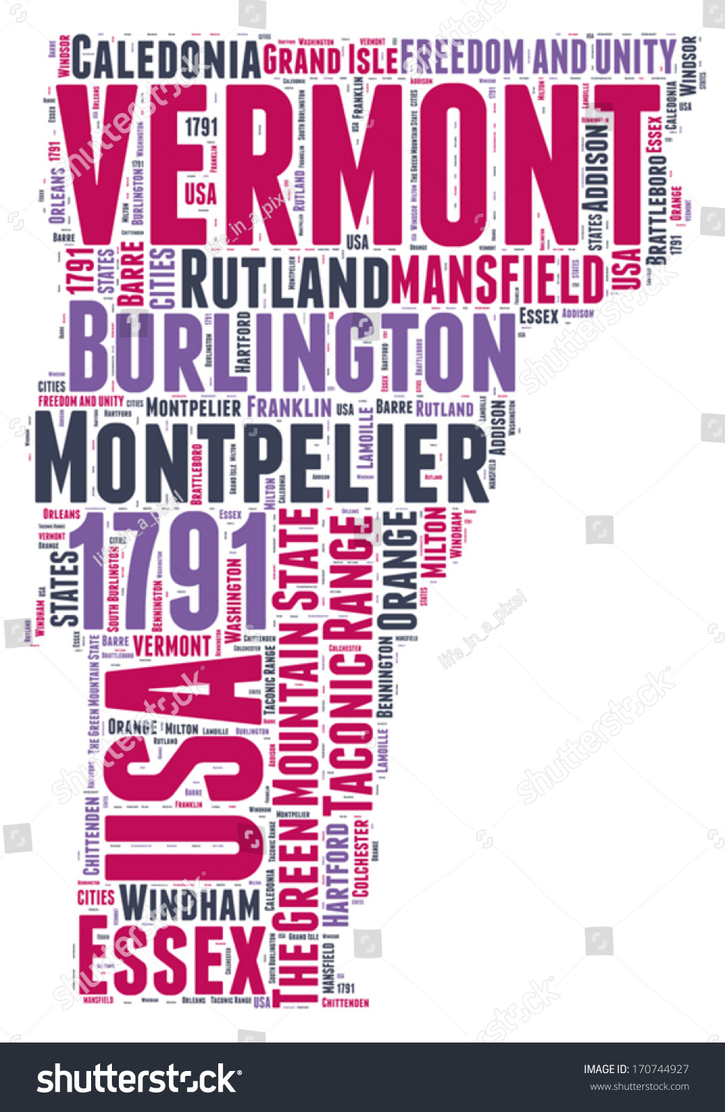 Vermont Usa State Map Vector Tag Stock Vector Shutterstock - Map of usa vermont