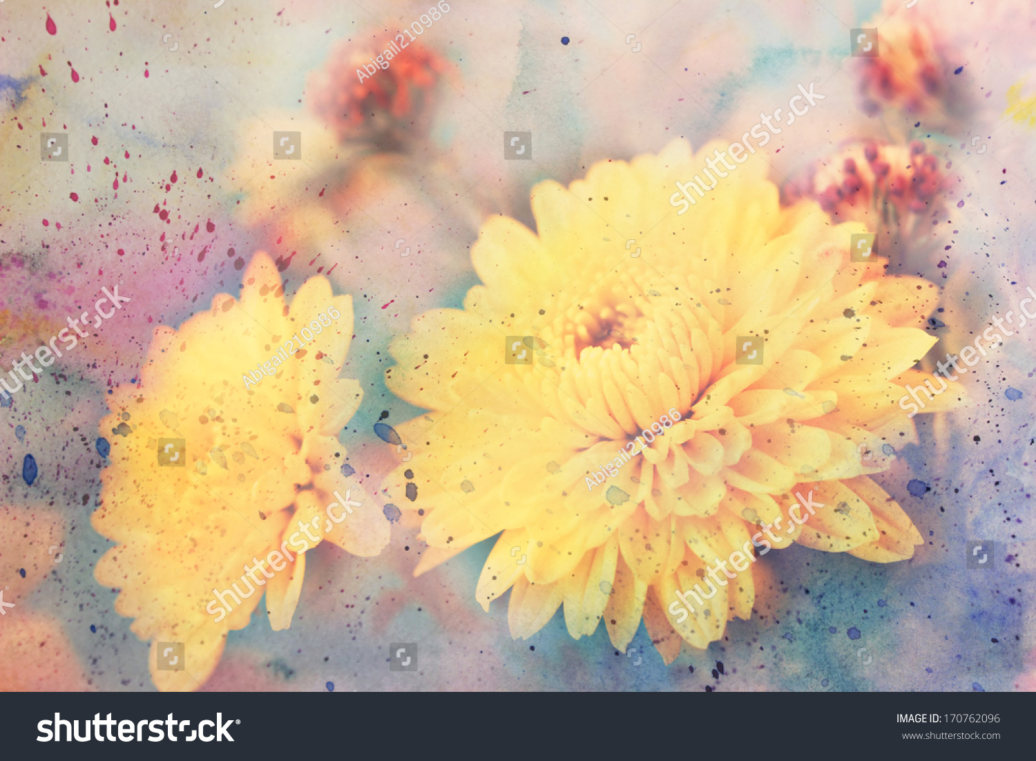 Scenic Artwork With Yellow Aster Flowers And Watercolor Ez Canvas