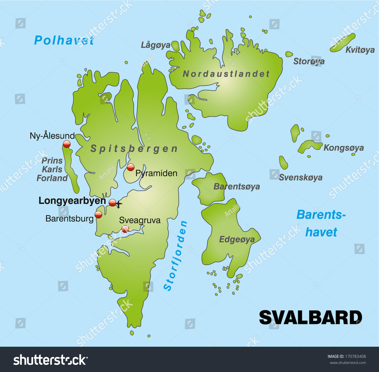 Map Svalbard Overview Map Green Stock Illustration - Svalbard map