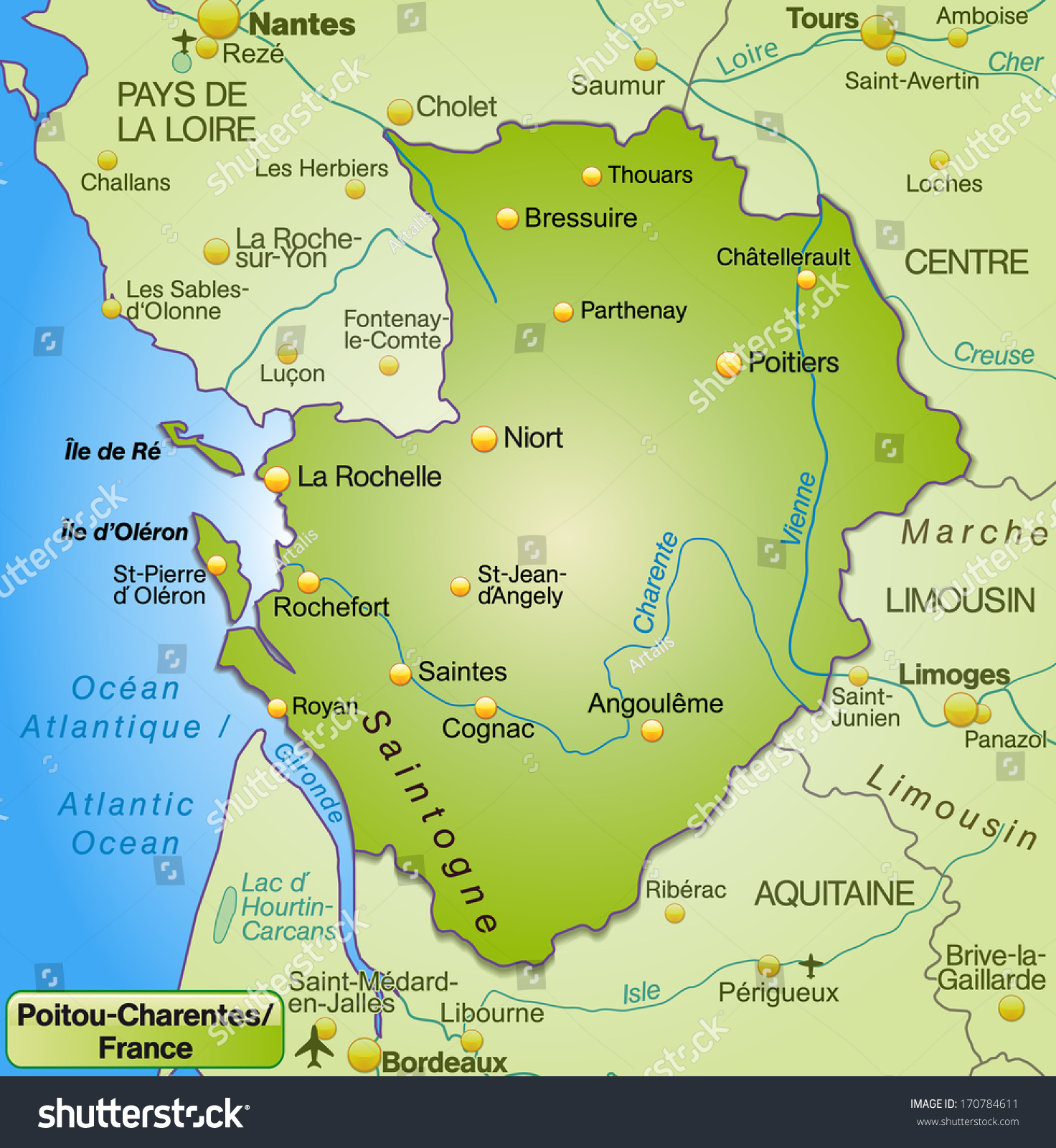 Map of Poitou-Charentes as an overview map in green | EZ Canvas
