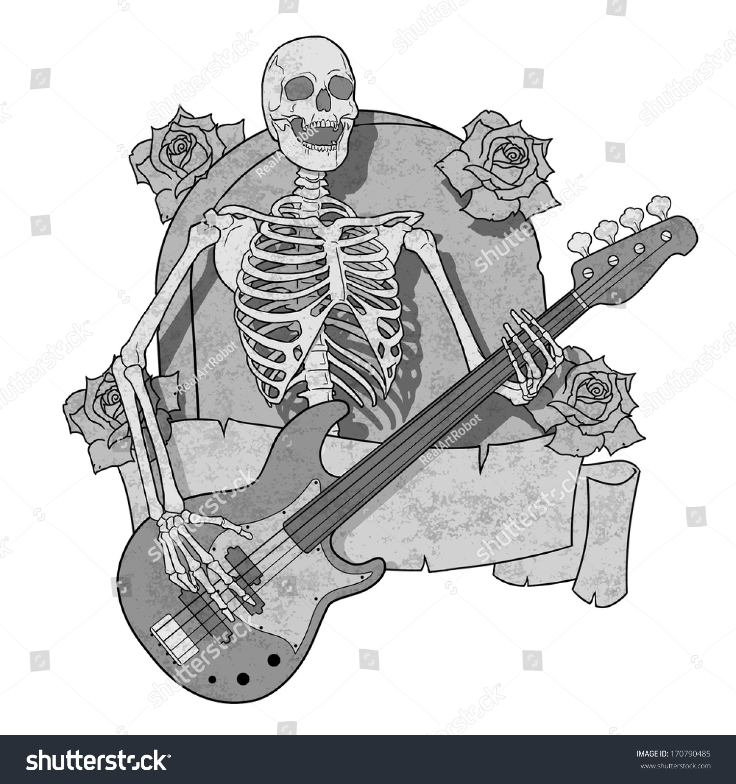 Skeleton Plays The Bass Guitar On Background Of Tombstones