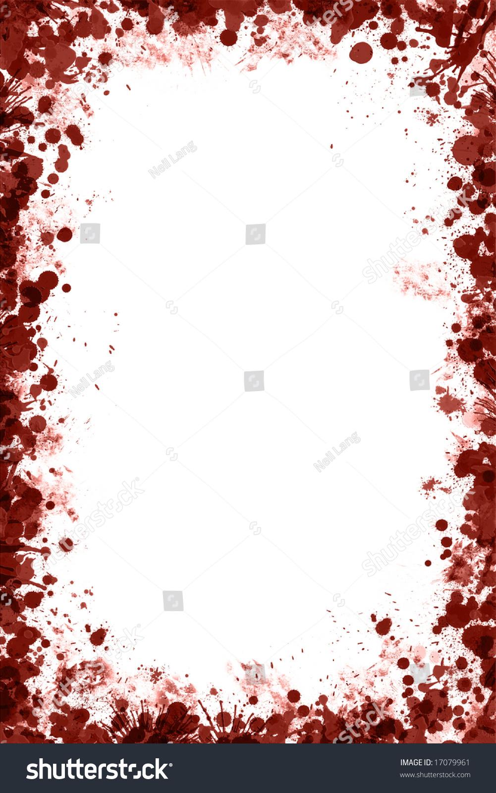 blood splat droplets frame white background stock