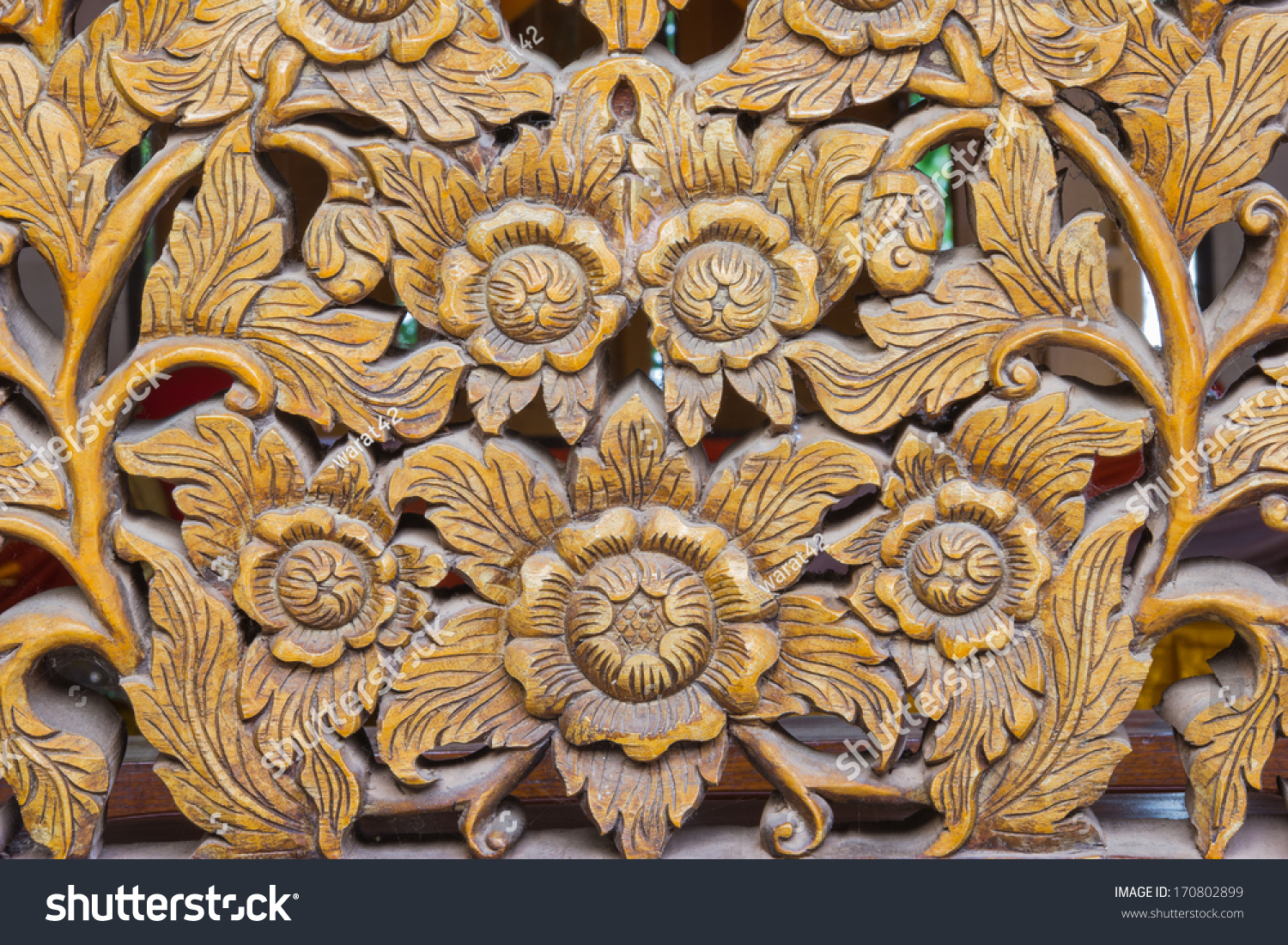 Wood Carving Of FlowersThailand