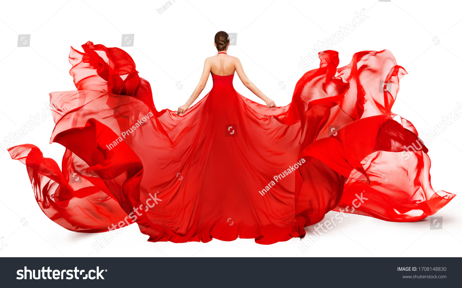 Woman Back Rear view in Red Flying Dress Fluttering on Wind, Girl in Blowing Waving Gown Clothes on White #1708148830