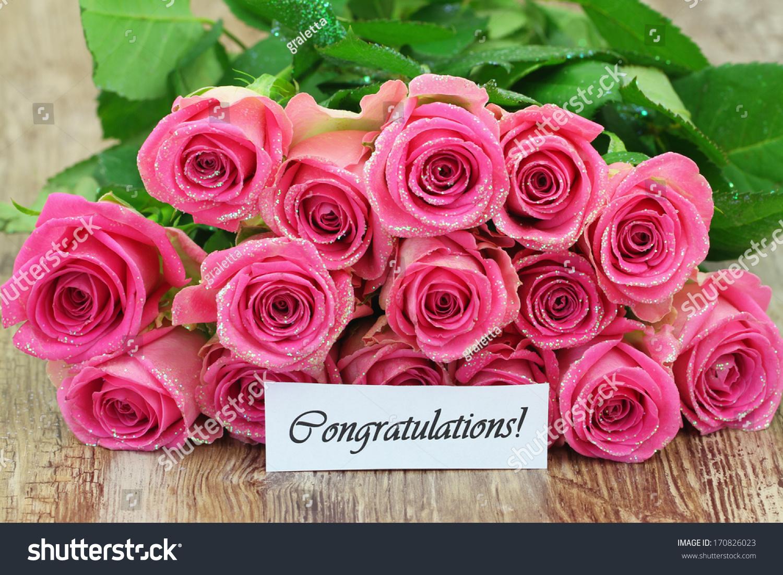 Congratulations Card Pink Roses Bouquet Glitter Stock Photo Edit