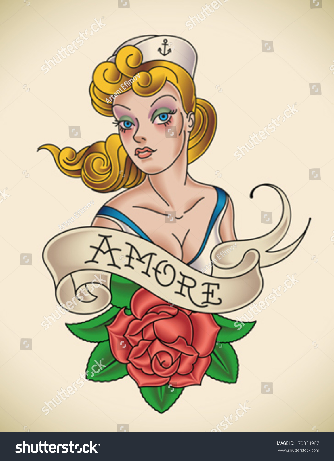 Oldschool navy tattoo pinup lady red stock vector for Old school pin up tattoos