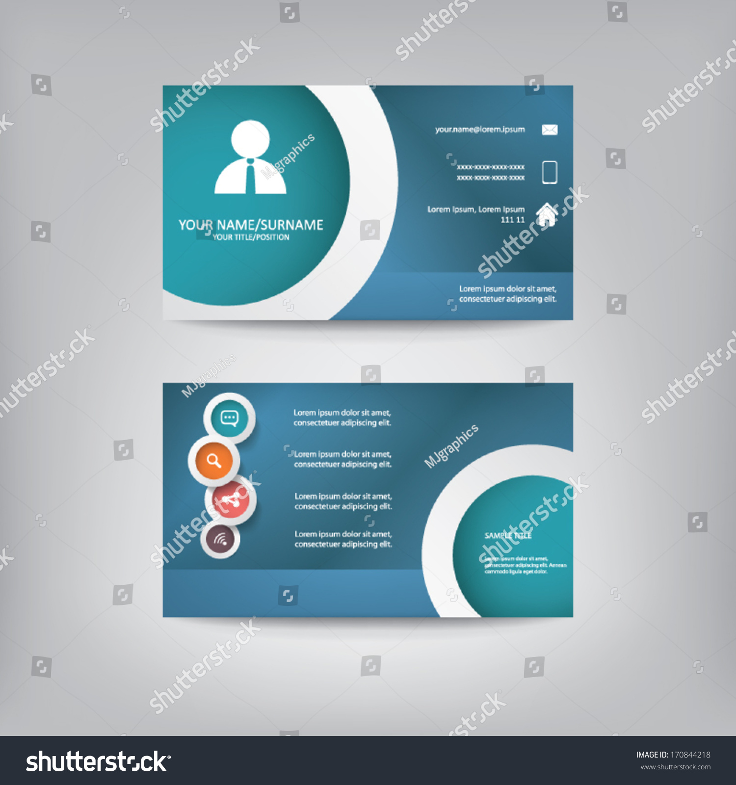 modern simple business card template elegant stock vector