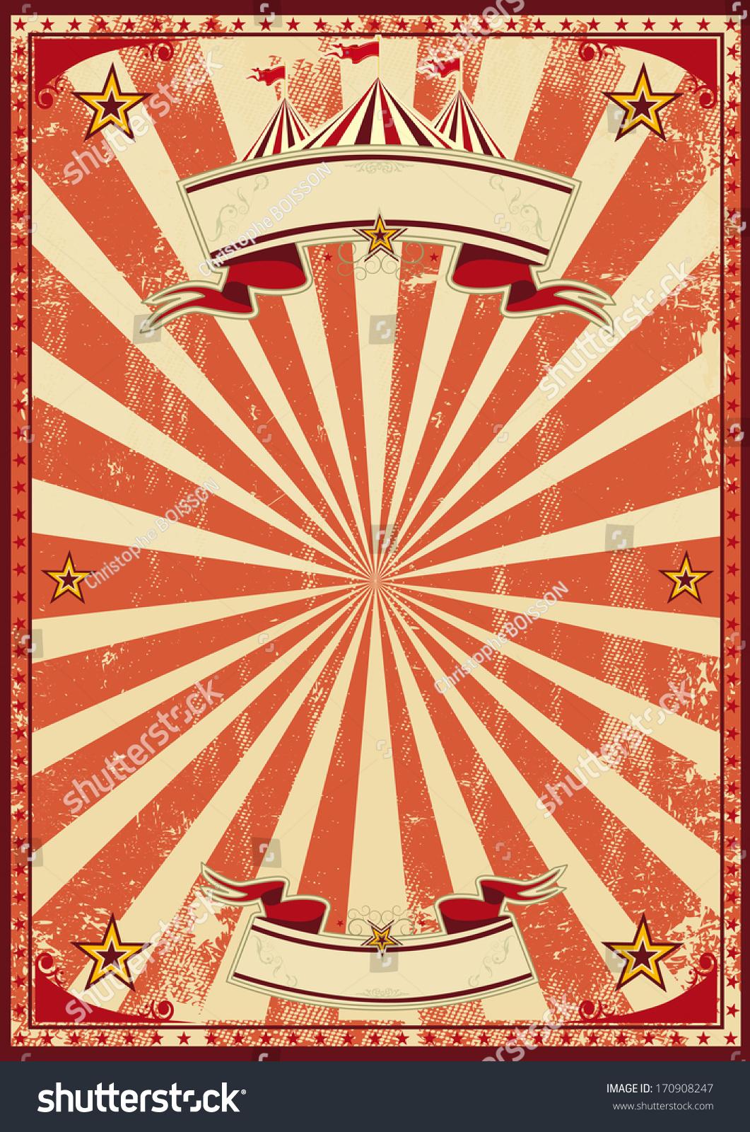 Red Vintage Circus Background Poster Stock-Vektorgrafik (Lizenzfrei ...