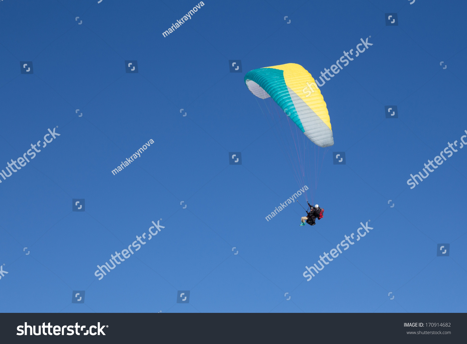 Two People Paragliding Tandem High Blue Stock Photo (Edit