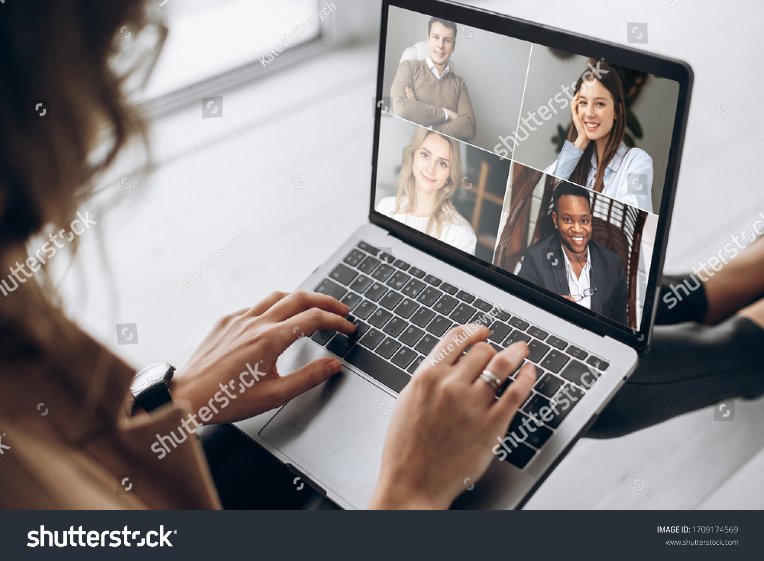 Online business meeting. Business team working from home in a video conference. 