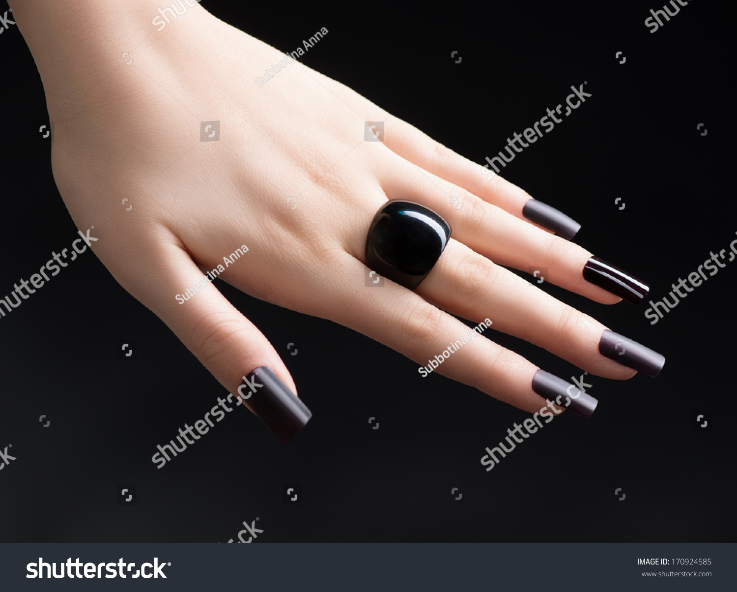 Manicured Nail Black Matte Nail Polish Stock Photo Edit Now 170924585