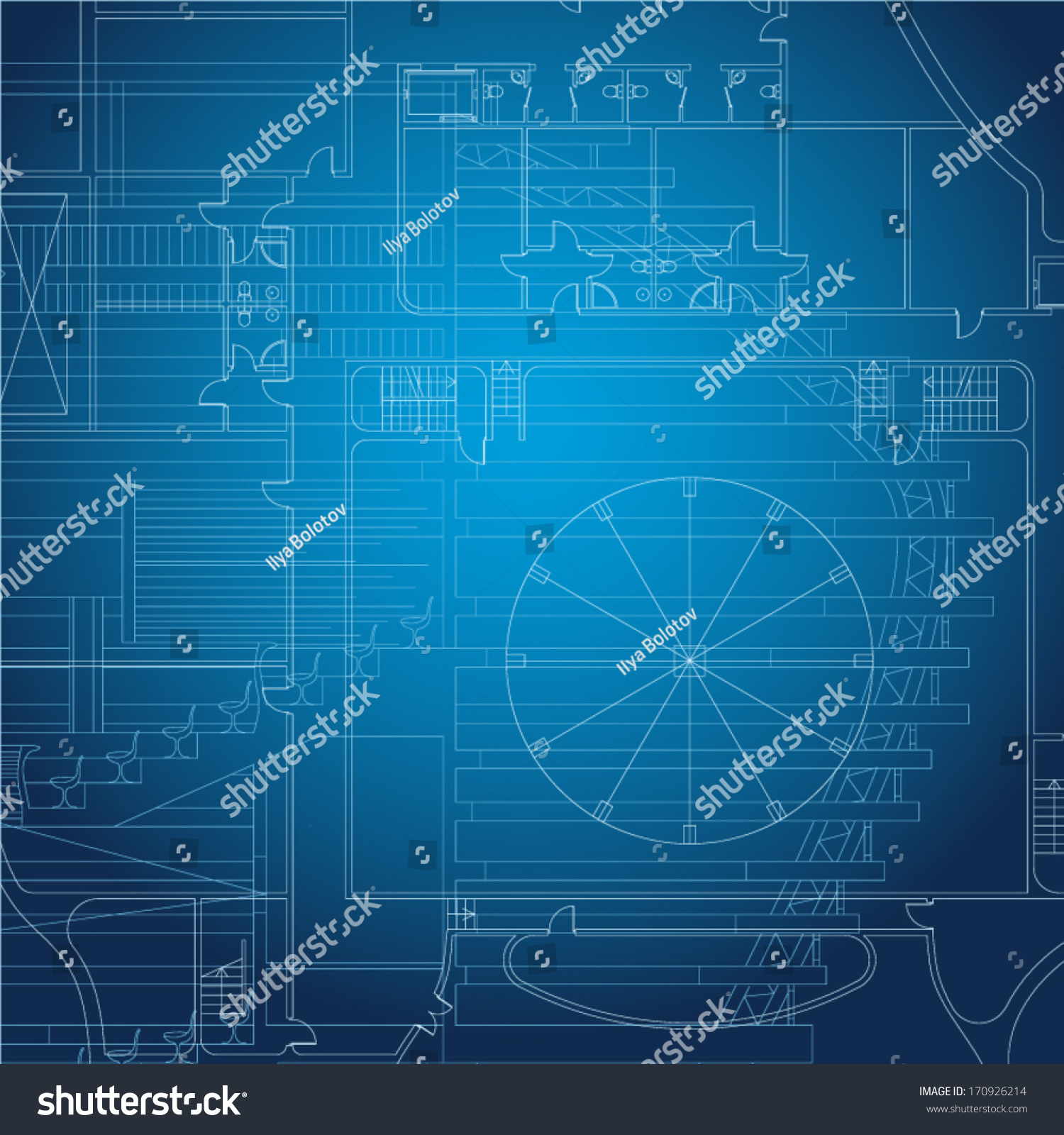 Architectural blueprint vector drawings stock vector 170926214 architectural blueprint vector drawings malvernweather Images