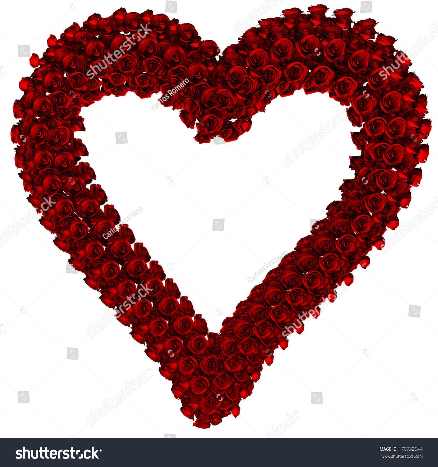 Red gift bows border with clipping path for easy background removing - Frame Made With Red Roses Heart With Clipping Path