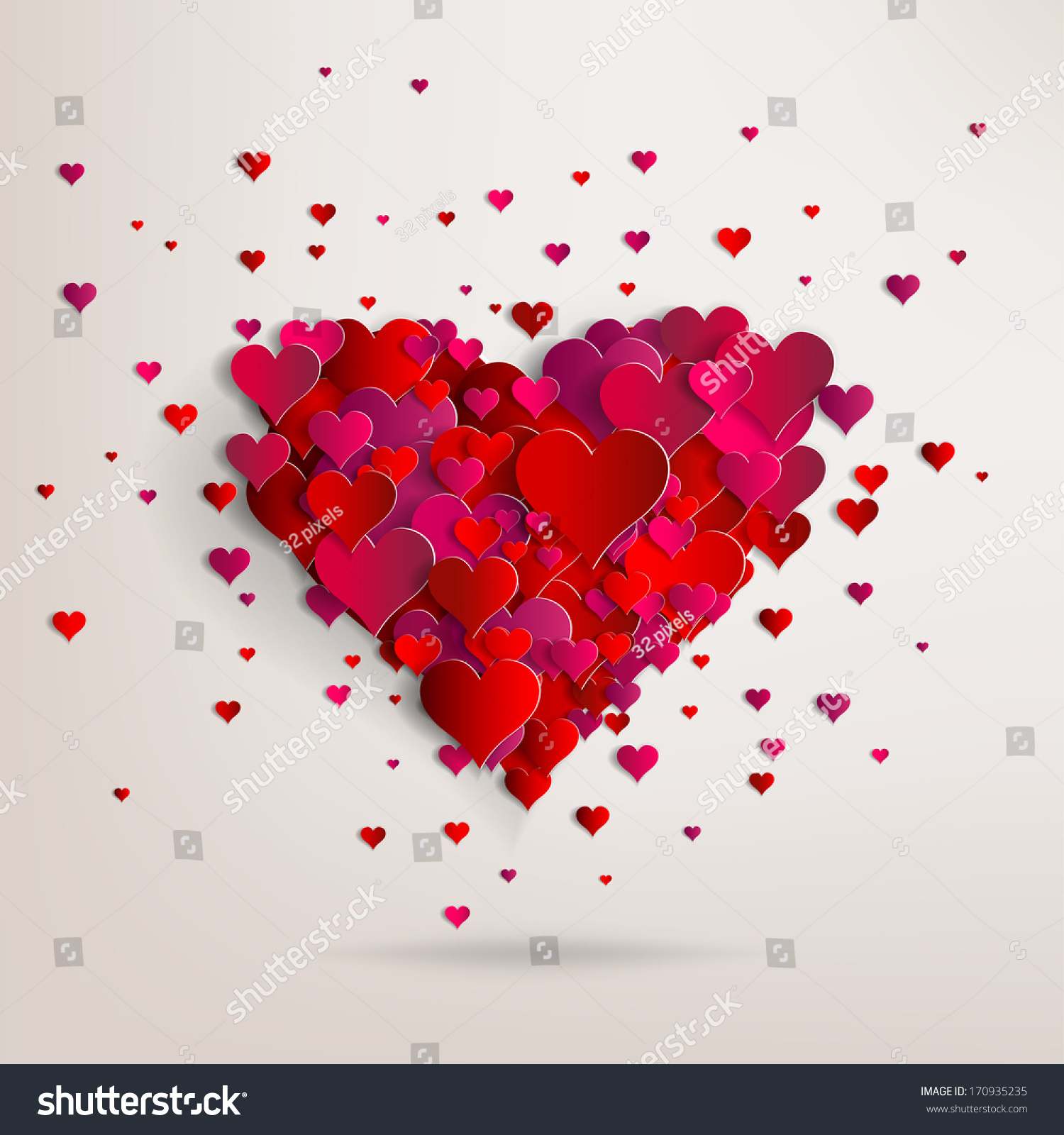 hearts on abstract love background my stock illustration 170935235