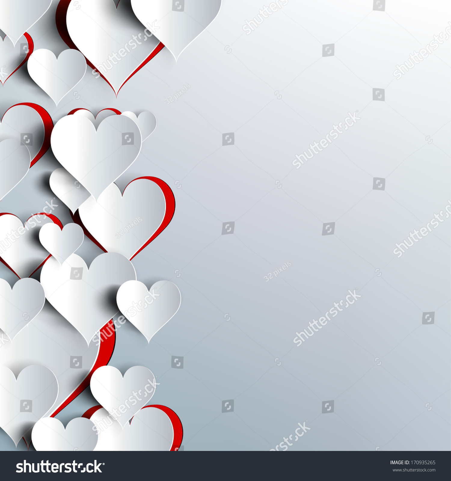 hearts on abstract love background my stock illustration 170935265