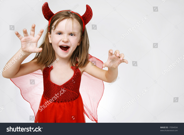 scary cute little girl in halloween costume