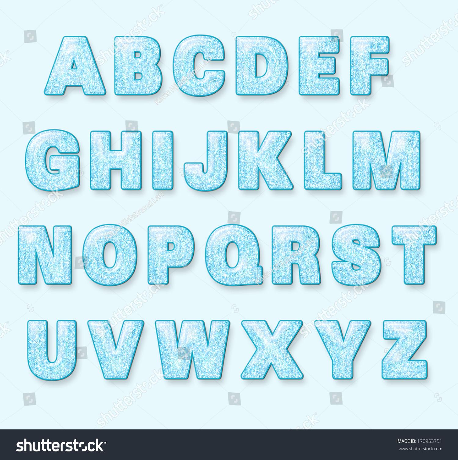 blue snowy winter font letters stock illustration. Black Bedroom Furniture Sets. Home Design Ideas