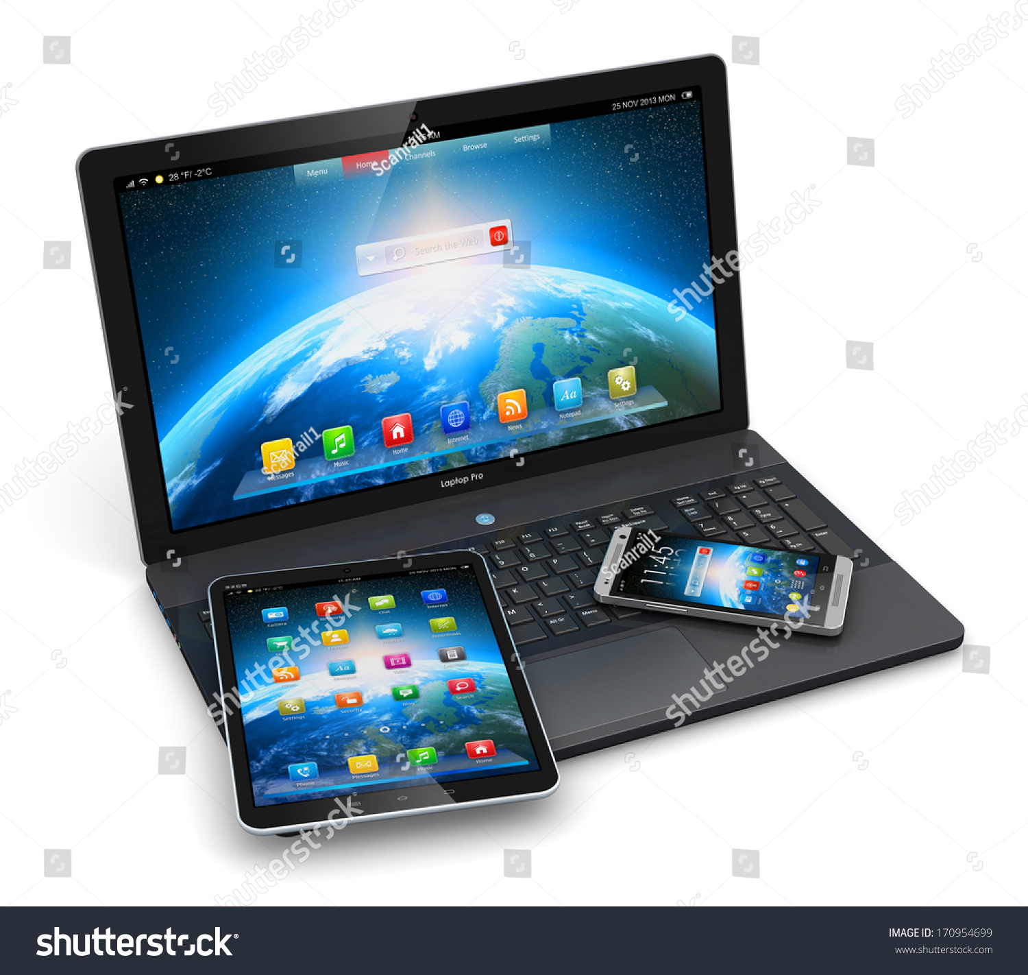 Mobile Devices Wireless Communication Technology Internet Stock ...