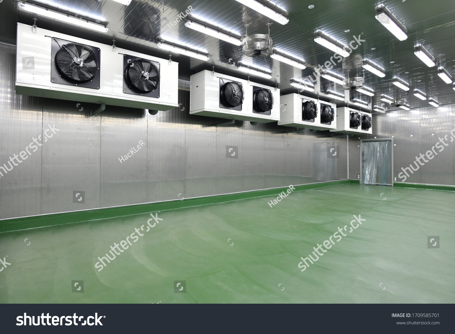 Newly cold storage room with refrigerator machine in the production line at the factory #1709585701