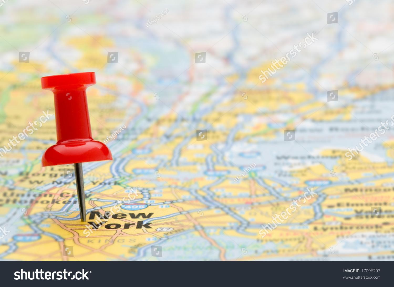 Red Pushpin Marking Location New York Stock Photo - New york map location