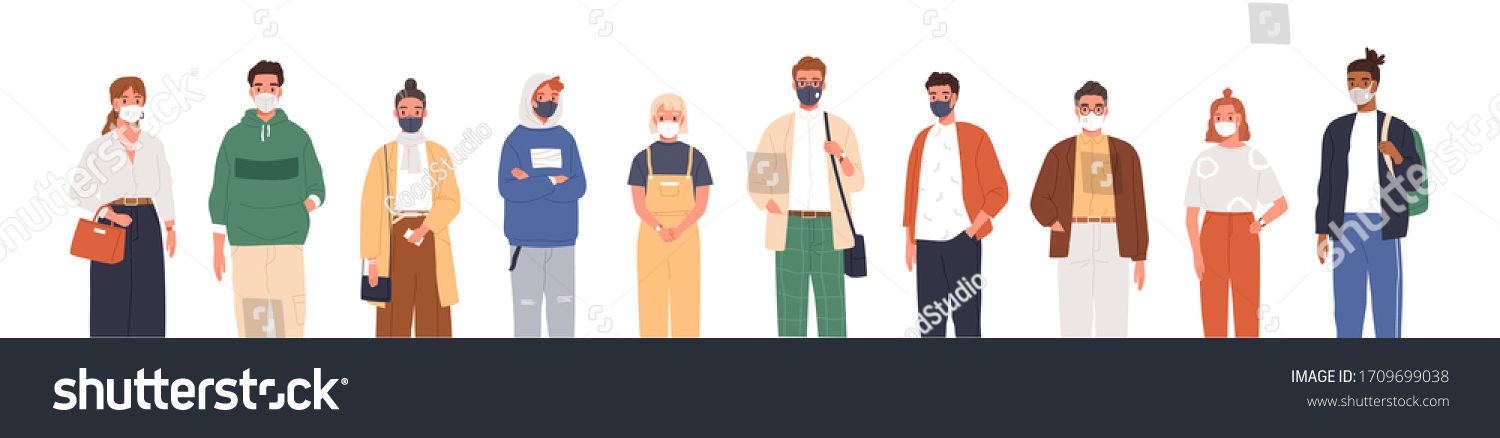Different people wearing face masks isolated on white background. Man and women in respirators. Protection from coronavirus outbreak, pandemic prevention. Vector illustration in flat cartoon style #1709699038