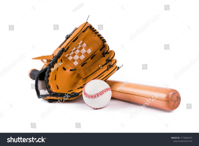 Baseball bat, ball and glove isolated over white background #1710004372