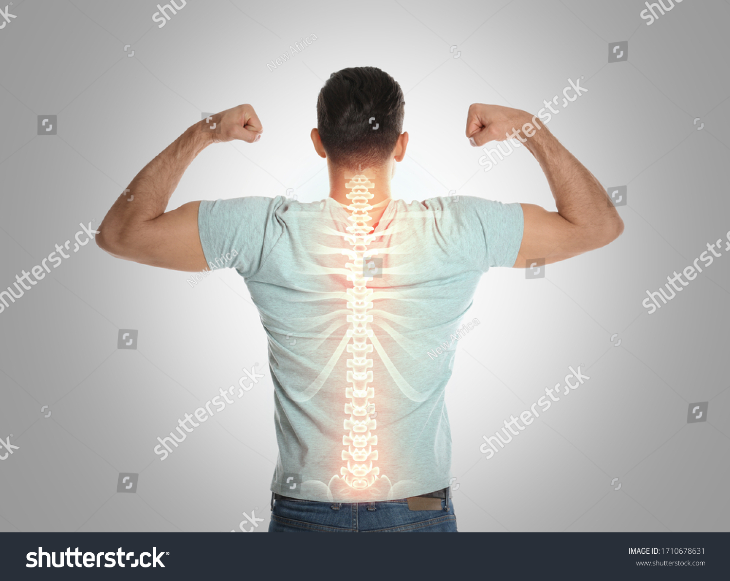 Man with healthy back on light background. Spine pain prevention #1710678631