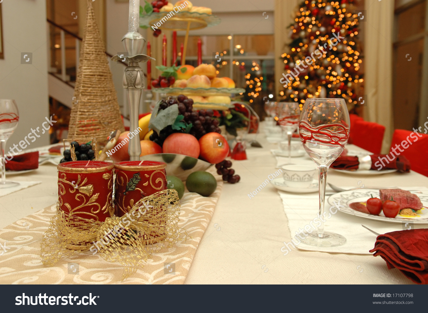 Table Set For Christmas Dinner table set of a christmas dinner meal stock photo 17107798