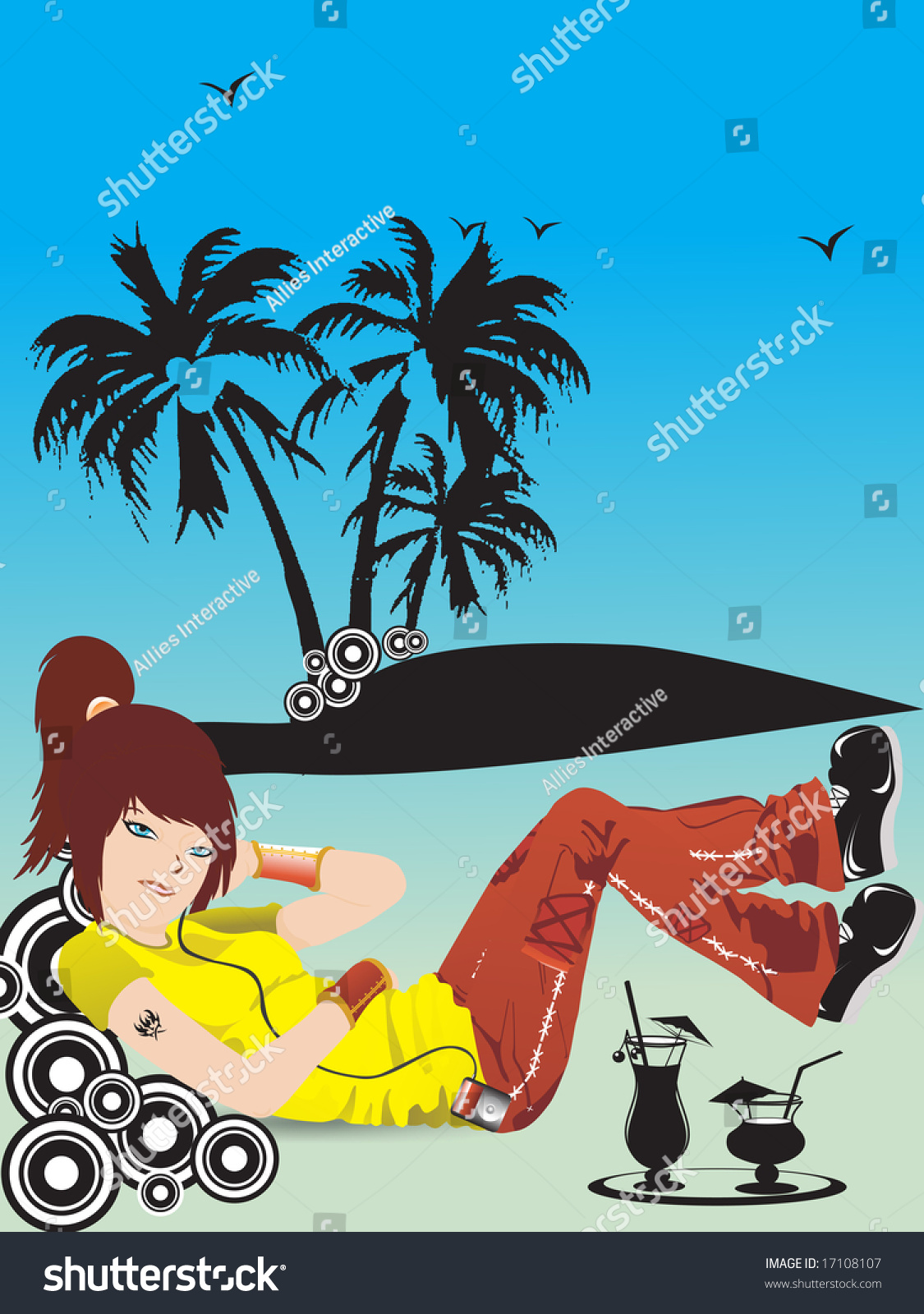 Simple Wallpaper Music Summer - stock-vector-beautiful-girl-listening-music-on-summer-background-wallpaper-17108107  Picture_93785.jpg
