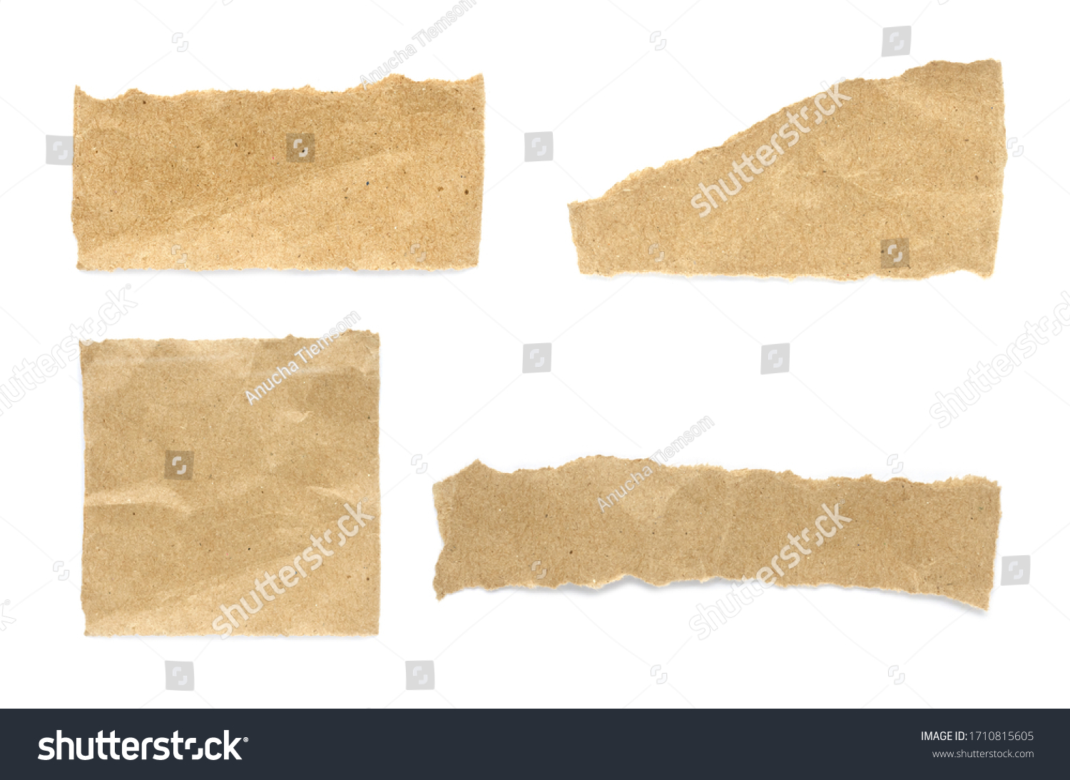 Recycled paper craft stick on a white background. Brown paper torn or ripped pieces of paper isolated on white background. #1710815605