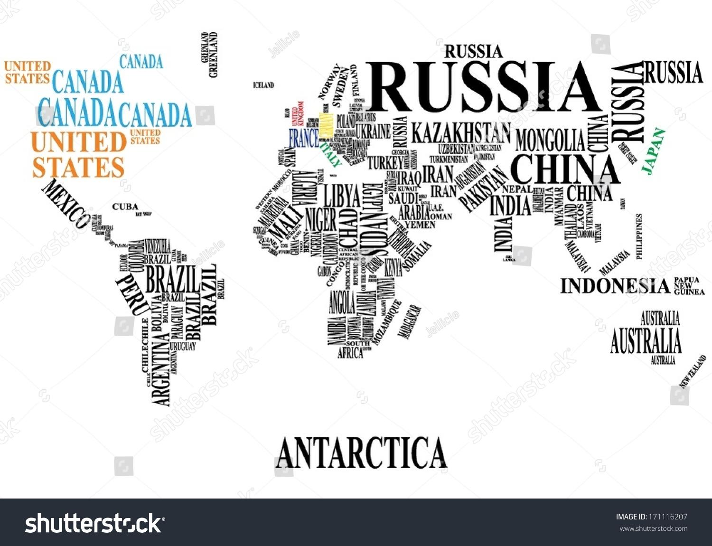 Word cloud world map vectores en stock 171116207 shutterstock word cloud world map gumiabroncs Choice Image