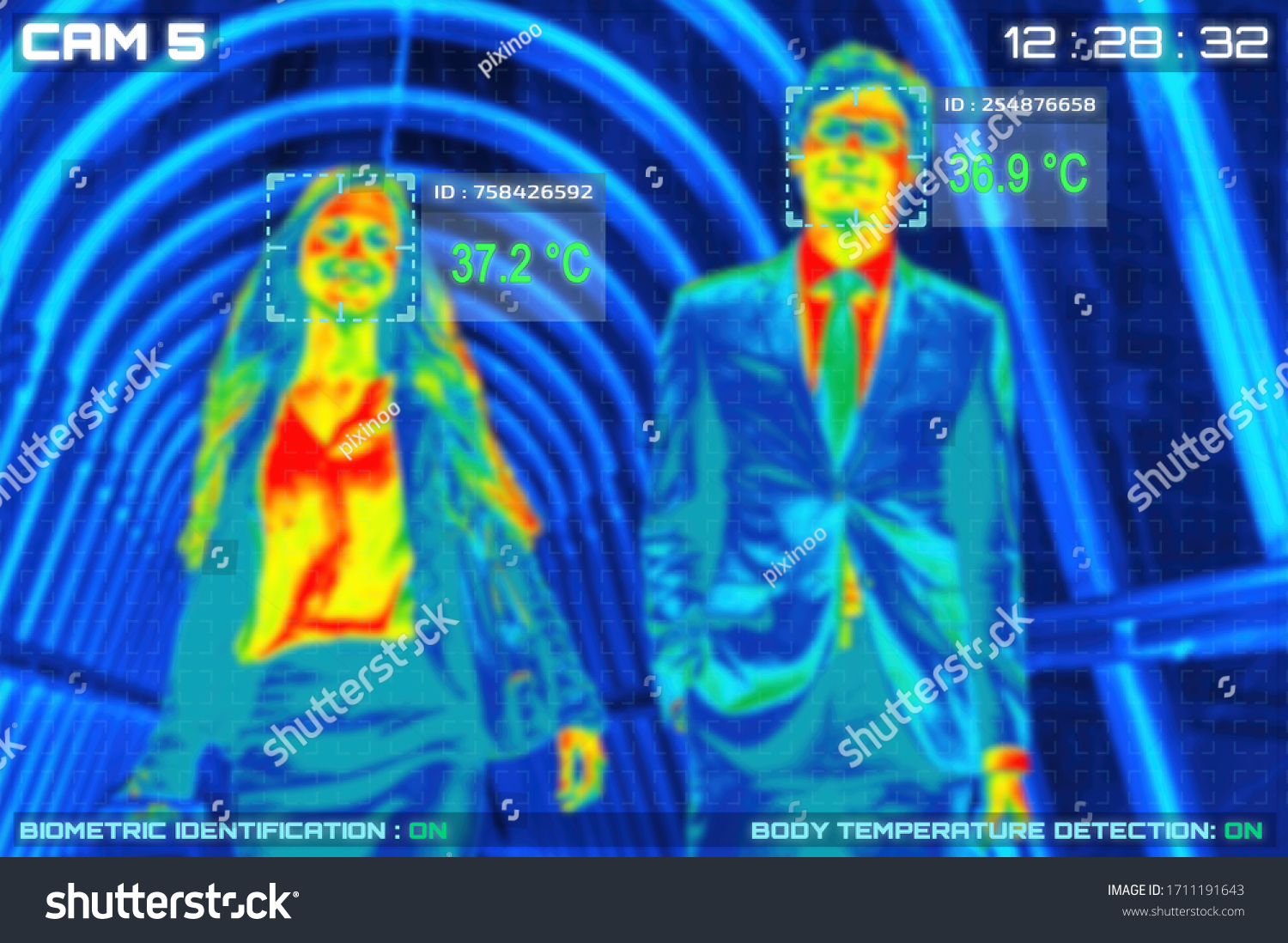 Simulation of body temperature check by thermoscan or infrared thermal camera for against epidemic flu covid19 or corona virus #1711191643
