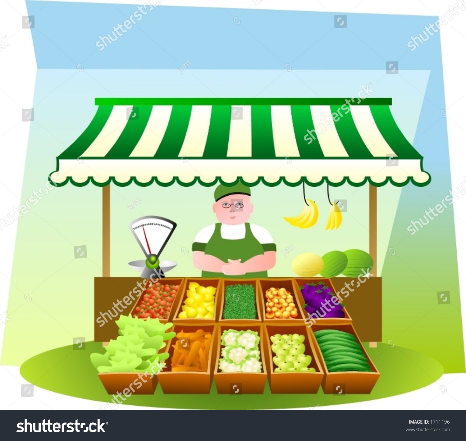 (the green-grocer is fully drawn)
