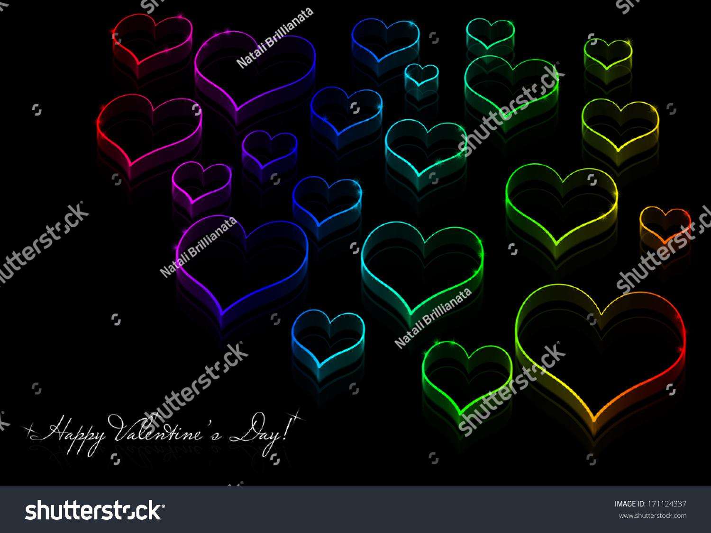 Love Neon Rainbow Line Silhouette Hearts Stock Illustration