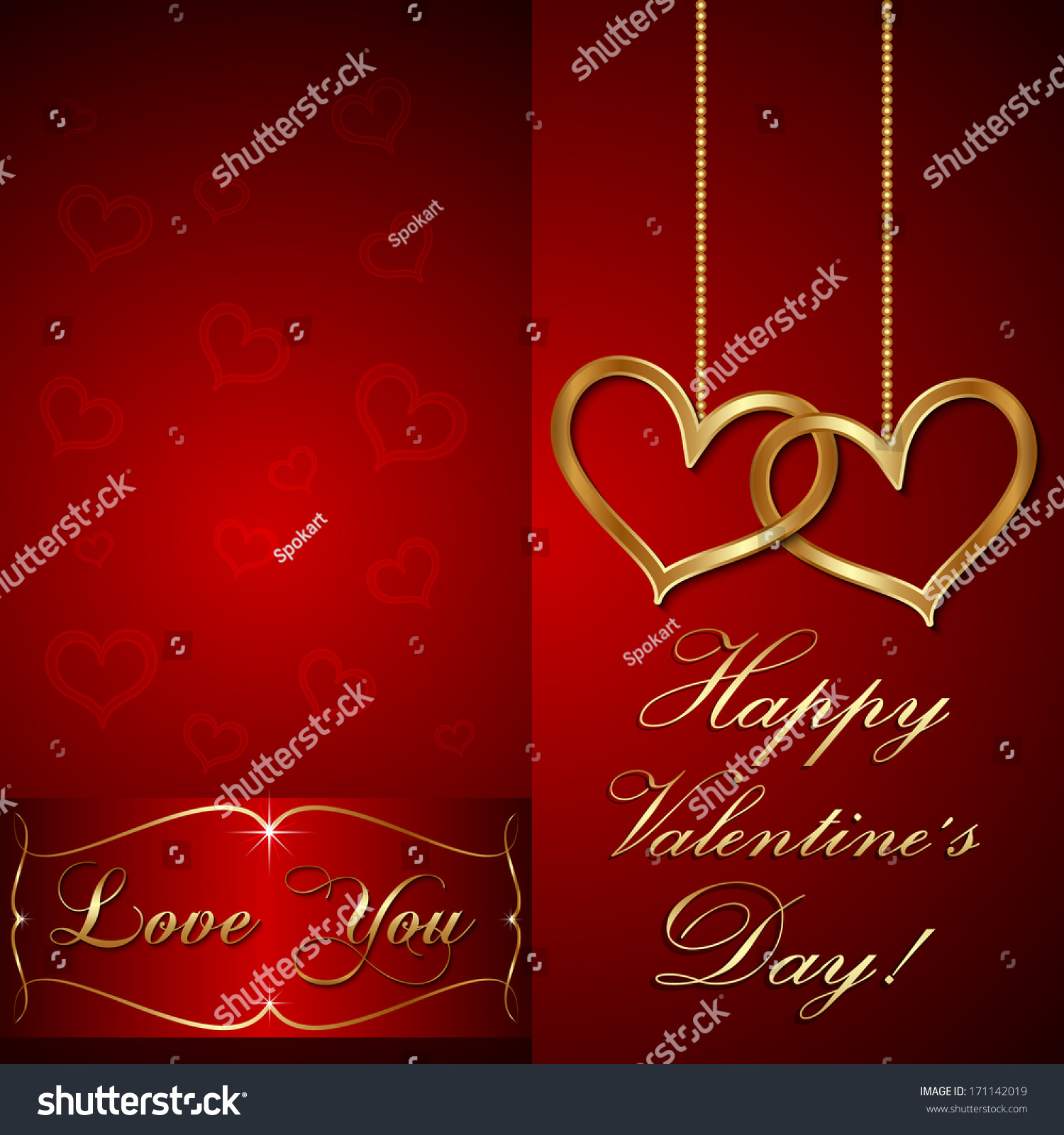 Vector Red Saint Valentine Greeting Card Stock Vector 171142019