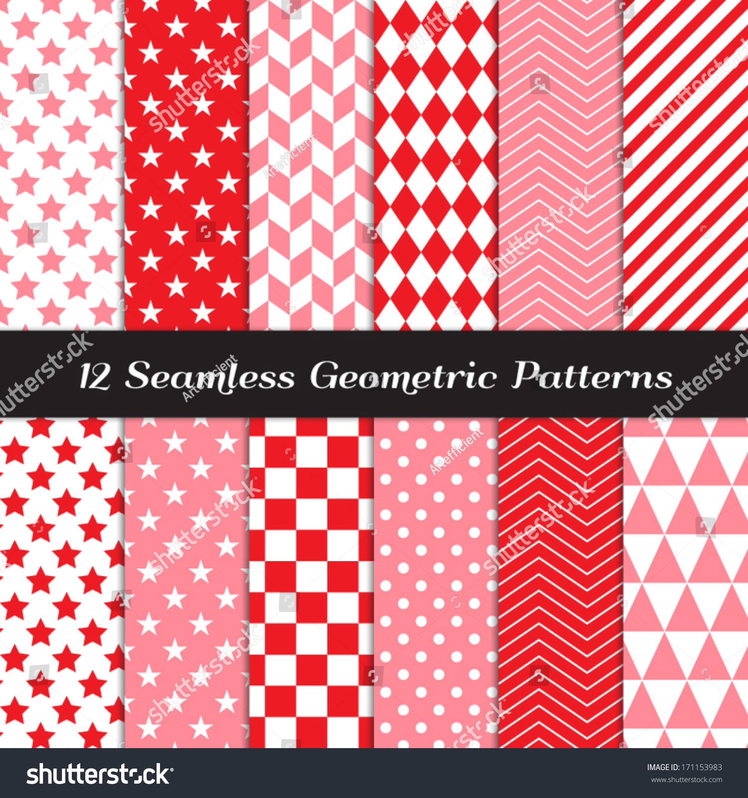 Pink Red White Geometric Seamless Patterns Stock Vector (Royalty ...