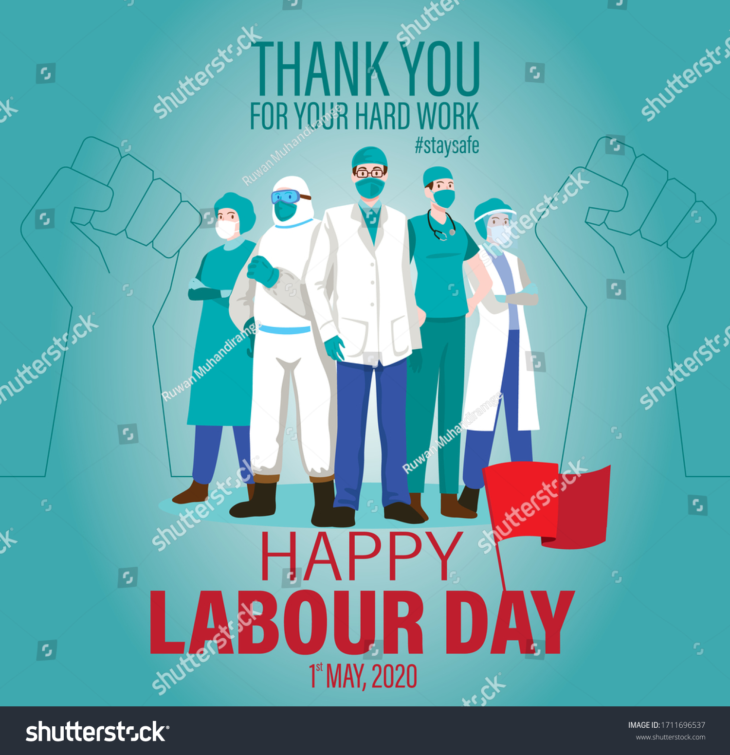 Happy Labour Day 2020 Vector 1st Stock Vector Royalty Free 1711696537